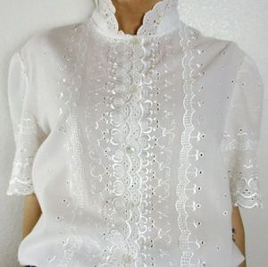 Vintage 70s Eyelet and Lace Embroidered Shirt